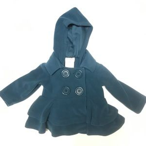 🌙Stellybelly 6 Month Teal Fleece Hooded Coat